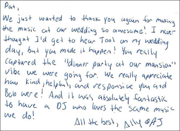 Ally & AJ thank you letter.