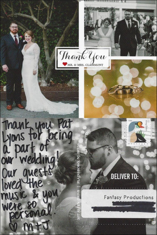 Mr. & Mrs. Clairmont thank you letter.