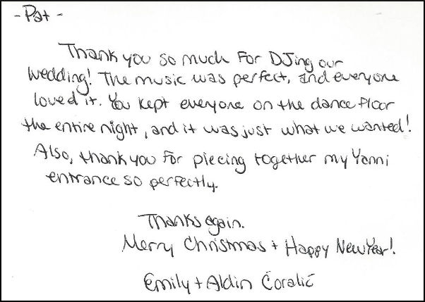 Emily & Aldin Coralie thank you letter.